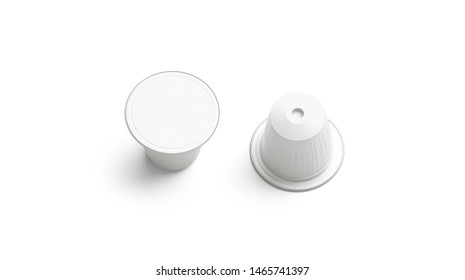 Blank white plastic coffee capsule mockup, isolated, top view, 3d rendering. Empty disposable bag with cream or coffe mock up. Clear bio packet with beverage template.