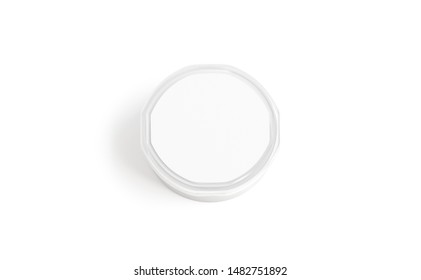 Blank white plastic pail with round lid mockup, top view, 3d rendering. Empty lunch box mock up, isolated. Clear canned fast food package with cap for logotype template.
