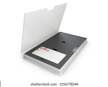 Blank white plastic usb card mockup in the box, 3d Illustration