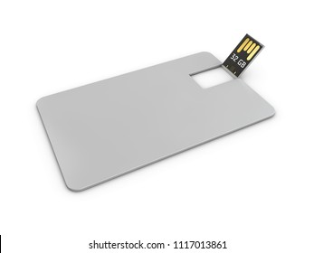 Blank white plastic wafer usb card mockup, 3d Illustration. Visiting flash drive namecard mock up
