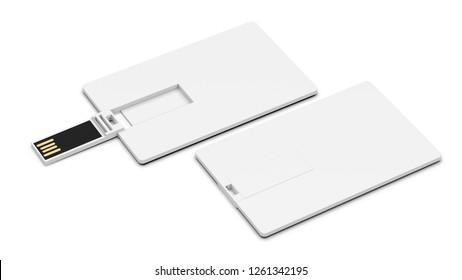 Blank white plastic wafer usb card mockup lying, opened and closed. Visiting flash drive namecard mock up. Debit card disk souvenir. Flat wallet credit stick adapter. - Illustration  3D Render.
