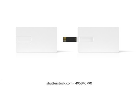 Blank white plastic wafer usb card mockup, opened and closed, clipping path, 3d rendering. Visiting flash drive namecard mock up. Call-card disk wallet presentation. Flat credit stick adapter design