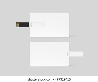 Blank white plastic wafer usb card design mockup, front, back side view, 3d rendering. Visiting flash drive namecard mock up. Call-card disk souvenir presentation. Credit wallet stick adapter.