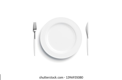 Blank white plate mockup with fork and knife, side view isolated, 3d rendering. Clear dish with cutlery design mock up. Empty restaurant table ware template.