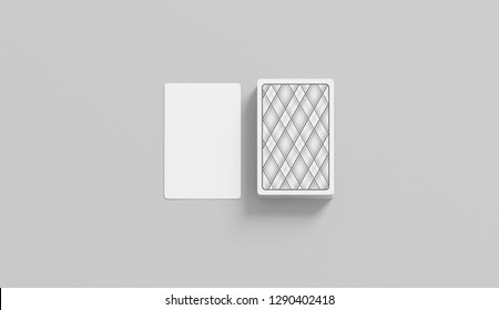 Blank white playing card with deck stack mockup, isolated, 3d rendering. Empty face and shirt game cards mock up, front view. Hazard and risk in blackjack gaming template.