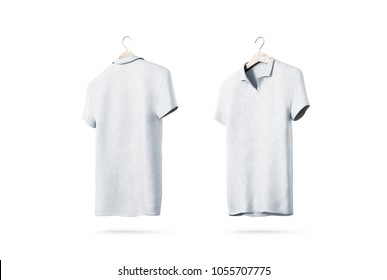Blank white polo shirt with hanger mockup isolated, front and back side view, 3d rendering. Empty t-shirt uniform mock up. Plain clothing design template. Cotton clear with collar and short sleeves
