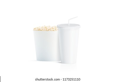Blank white popcorn bucket with cup with straw mockup, isolated, 3d rendering. Empty fastfood pack and paper soda drinking mug with lid and tube mock up. Plain pail with corn and cola beverage package