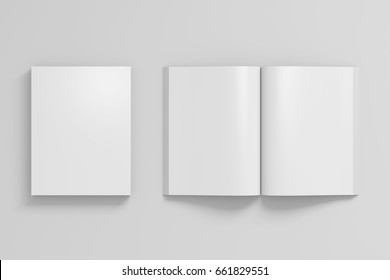 Blank white portrait soft cover book with glossy paper on white background. Open and closed, isolated with clipping path around each book. 3d illustration
