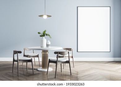 Blank white poster in black frame in stylish dining room with modern white furniture with golden details and wooden parquet. Mock up, 3D rendering