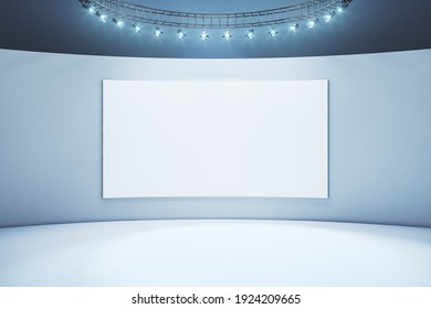 Blank white poster in the center of light wall in empty exposition room with led lights on top. Mockup. 3D rendering