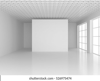Blank white poster in empty room with big windows, mock up, 3D Rendering.