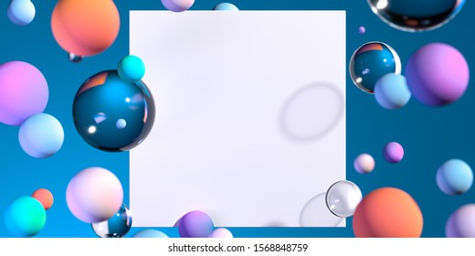 blank white poster near glossy and matte glass balls. 3d rendering. abstract background