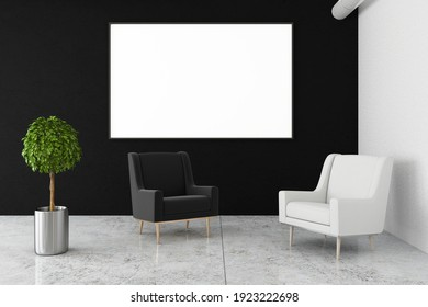 Blank white poster on dark wall in stylish waiting area with black and white armchairs on marble floor. Mock up. 3D rendering