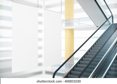 Blank white posters in interior design with stairs. Mock up, 3D Rendering