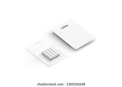 Blank white power battery pack mockup, front and back, isolated, 3d rendering. Empty ecology acumulator in packaging mock up. Clear lithium energy batery cylinder template.