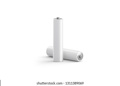 Blank white power battery stand and lying mockup, isolated, 3d rendering. Empty aa acumulator mock up. Clear cylinder ecology batt. Plus or minus charging template.