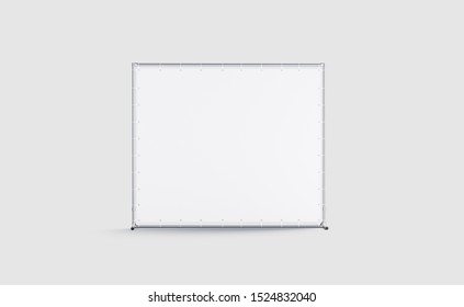 Blank white press wall mockup, isolated on gray background, 3d rendering. Empty backdrop screen mock up, front view. Clear commercial presswall on training or seminar branding template.