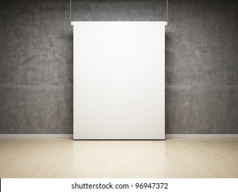 Blank white projection screen in studio on concrete wall