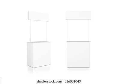 Blank white promo counter mockup stand, front and side view, clipping path, 3d rendering. Promotional pop up exhibition mock up.