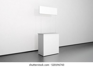 Blank white promo counter mockup stand near the wall, side view, clipping path, 3d rendering