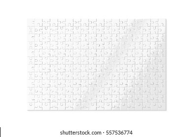 Blank white puzzles game mockup isolated, 3d rendering. Clear jigsaw pieces connected together, design mock up. Big board toy template.