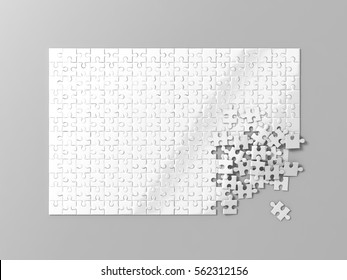 Blank white puzzles game mockup, connecting together, 3d rendering. Clear jigsaw pieces merging, design mock up. Big desktop toy template