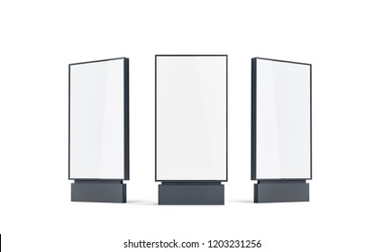 Blank white pylon mock up set, isolated, 3d rendering. Empty street banner mockup, front, left and right side view. Clear outdoor screen for advertising. Digital signage template.