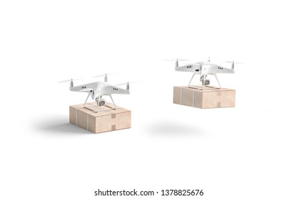 Blank white quadrocopter with box mock up, stand and flies isolated, side view, 3d rendering. Empty drones with parcel mockup. Clear quadrotor for delivery or shooting template.