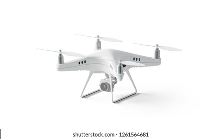 Blank white quadrocopter mock up, stand isolated, side view, 3d rendering. Empty dji helicopter mockup. Technology airscrew for shooting. Wireless spy deisgn template.