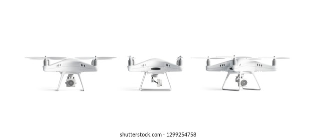 Blank white quadrocopter mockup set, stand isolated, front and side view, 3d rendering. Empty aero gadget drone mock up. Clear surveillance helicopter with propeller template.