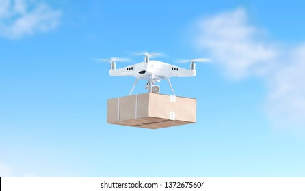 Blank white quadrocopter on sky background with box mock up, side view, 3d rendering. Empty wireless helicopter flying with parcel mockup. Clear technology outdoor toy for delivery
