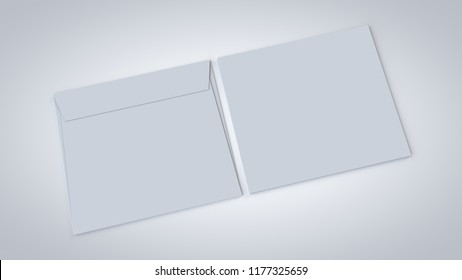 Blank white realistic A5 straight flap envelopes 3D rendered mockup, isolated on white with soft shadows closer view.