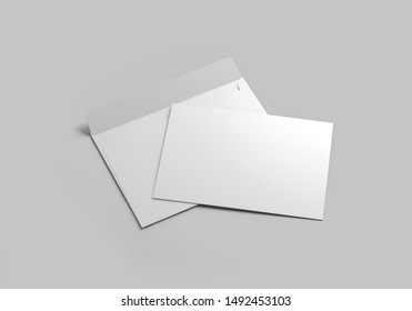 Blank white realistic square straight flap envelopes mock up. 3d rendering