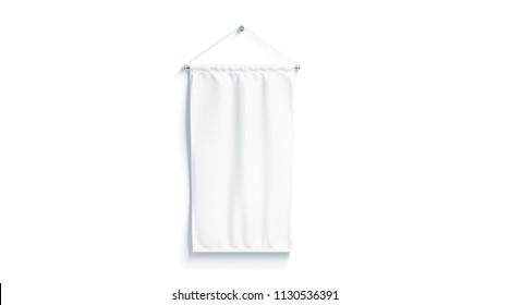 Blank white rectangle pennant mock up, isolated, 3d rendering. Clear penant hanging on wall mockup, front view. Empty streamer flag template