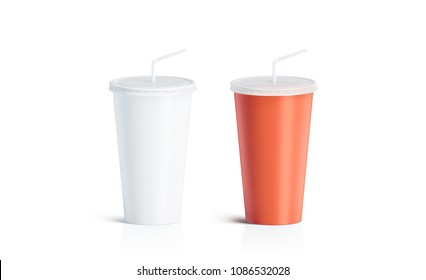 Blank white and red disposable cup with straw mock up, isolated. Empty paper soda drinking mug mockup with lid and tube front view. Clear soft drink cola take away plastic package