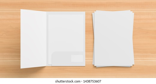 Blank white reinforced A4 size single pocket folder mock up isolated on wooden background. 3D illustration
