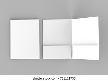 Blank white reinforced pocket folders on grey background for mock up. 3D rendering.
