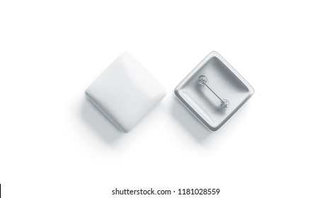 Blank white rhombus badge mock up, top view, isolated, 3d rendering. Empty square pin emblem mockup, front and back side. Clear plastic company button template.
