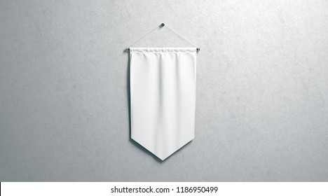 Blank white rhombus pennant mockup, wall mounted, 3d rendering. Empty flag mock up, isolated on surface. Clear hanging penant, front view. Promotion pennon tempalate.