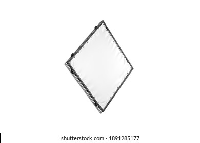 Blank white rhombus stretching banner with grip frame mockup, isolated, 3d rendering. Empty fabric advertise screen mock up, isolated, sive view. Clear outside hanging panel for affiche template.