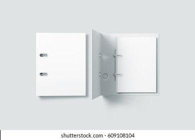 Blank white ring binder folder design mockup top view, 3d rendering. Self-binder mock up with stack of a4 paper. Office supply cardboard folder branding presentation. Desk lever arch file cover.