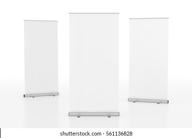 Blank white roll-up banner stand isolated on white background. Include clipping paths around stand and ad banner. 3d render