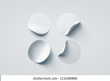 Blank white round adhesive sticker mock up set with curved corners, 3d rendering. Empty paper circle sticky label mockup with fold curl. Clear rounded adherent tag template for glass door or wall.