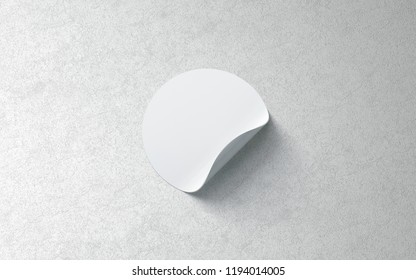 Blank white round adhesive sticker mockup on textured wall, 3d rendering. Empty circle tag with curved corners mock up. Clear sticky label on surface template for glass door or wall.