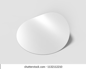 Blank white round adhesive stickers mock up with curved corner, 3d render illustration..