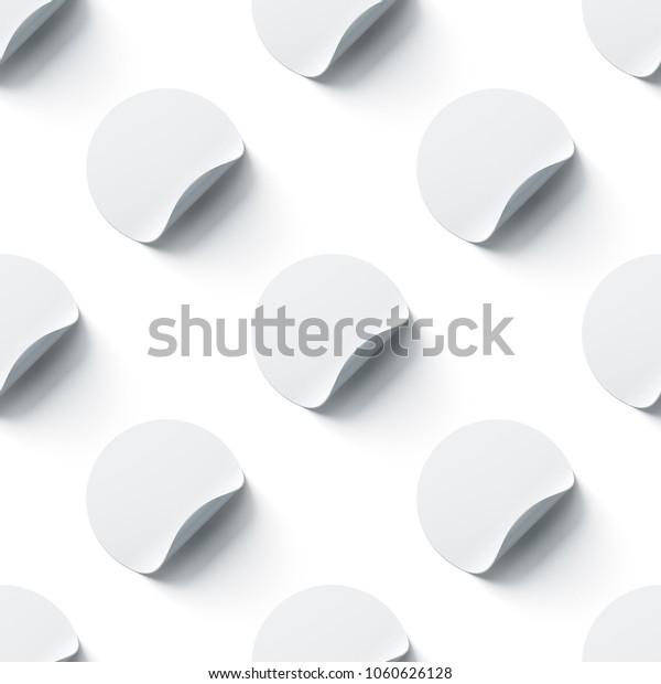 Blank White Round Adhesive Stickers Mock Stock Illustration