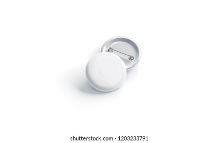 Blank white round badge stack mockup, front view, isolated, 3d rendering. Empty plastic button mock up. Clear circular pin template. Pile of company label emblem.