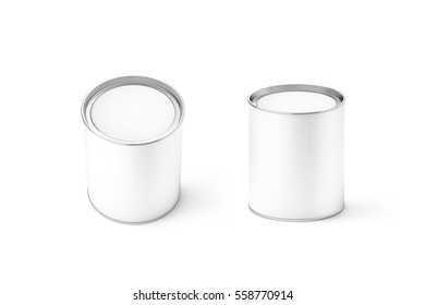 Blank white round can mockup set, isolated, 3d rendering. Clear cylindrical canned container with lid top view mock up. Conserved food packaging template. Tin cylinder preserved meal canister.