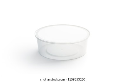 Blank white round disposable container mockup isolated, 3d rendering. Empty bento box mock up. Clear lunch box template. Fast food take away tray. Meal plastic to go case.