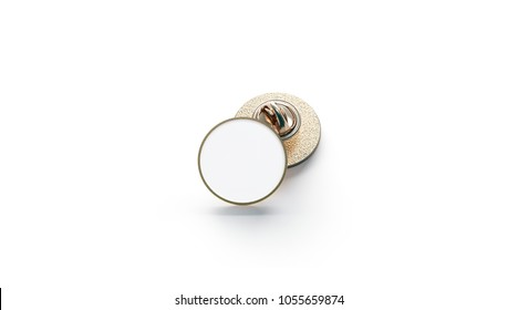 Blank white round gold lapel badge mockup stack, 3d rendering. Empty luxury hard enamel pin mockup. Golden clasp-pin design template. Expensive circular brooch for logo presentation